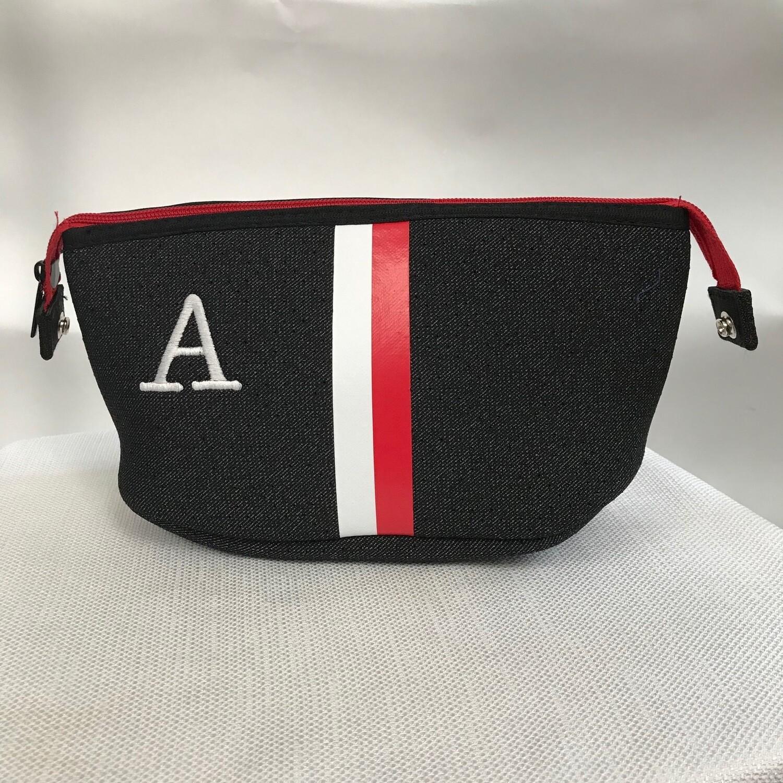 Erin Zipper Pouch Black Denim/Red Stripe