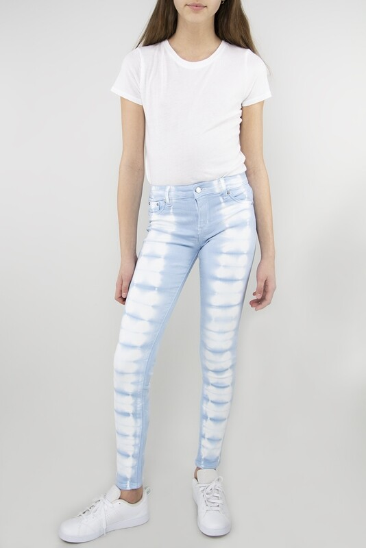 Girls Tractr Tie Dye Skinny Jean - Blue/White