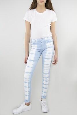 Girls Tractr Tie Dye Skinny Jean - Blue/White