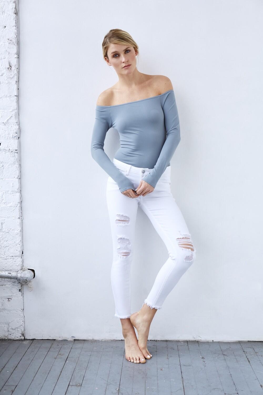 Distressed White Fray Hem Jean