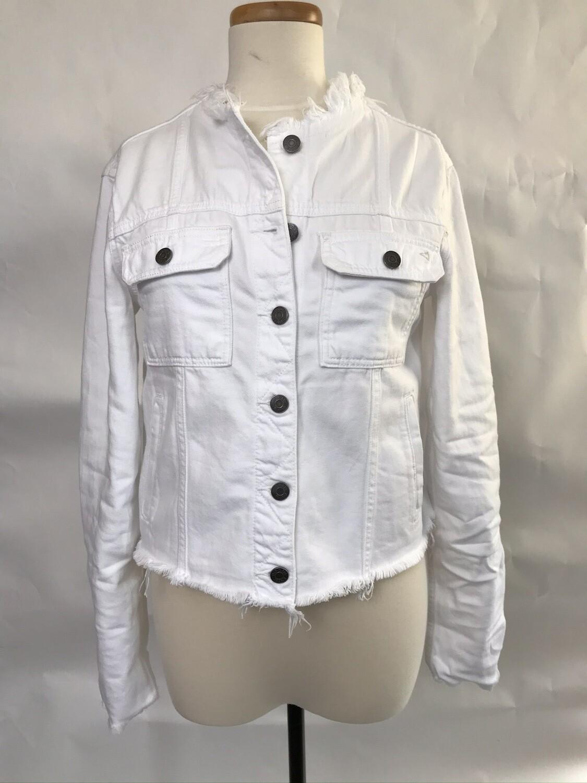 White Collarless Fitted Denim Jacket