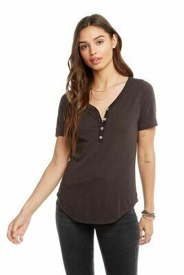 Vintage Black Henley V-Neck T-Shirt