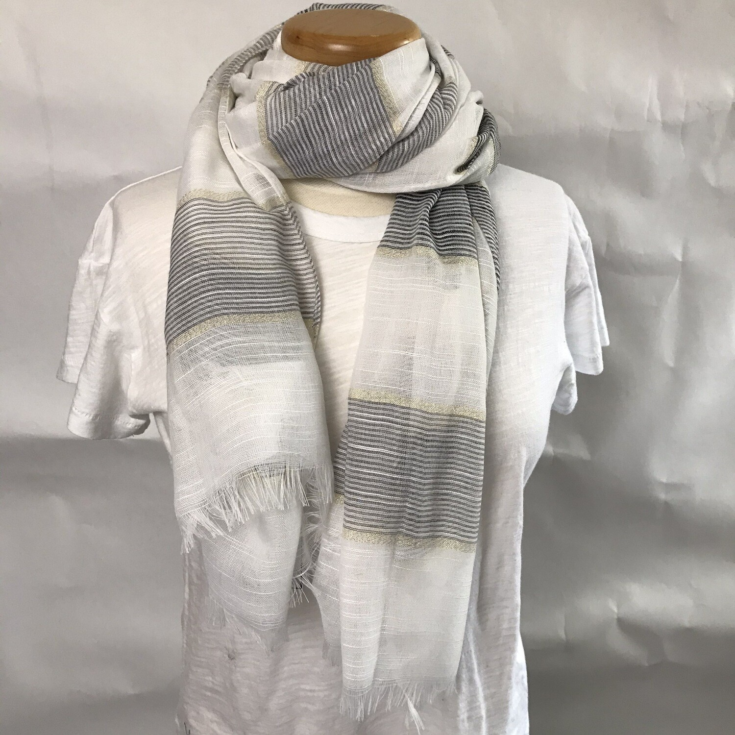 Scarf - White/Grey/Gold