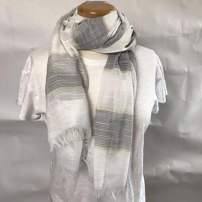 Scarf - White/Grey/Gold