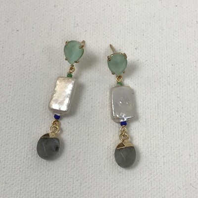 Labradorite Pearl Drop Earrings