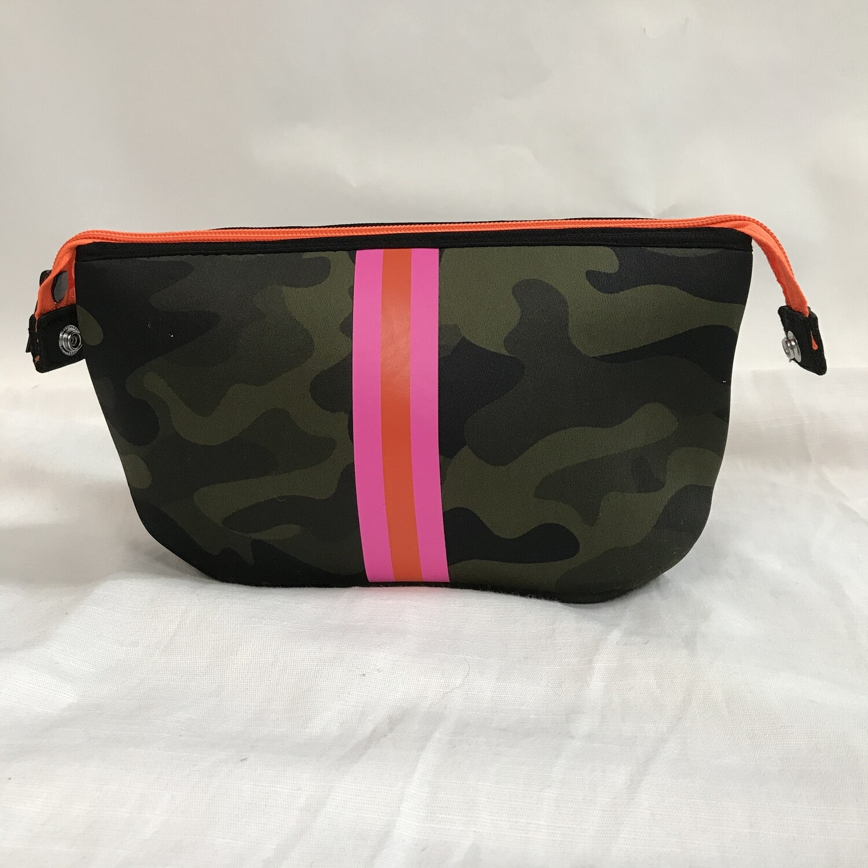 Erin Zipper Pouch - Green Camo/Pink & Orange Stripe