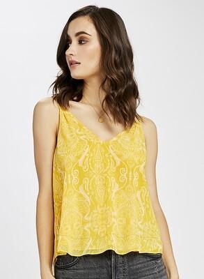 Yellow Paisley Woven Top
