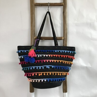 Pineapple Pom Pom Beach Tote
