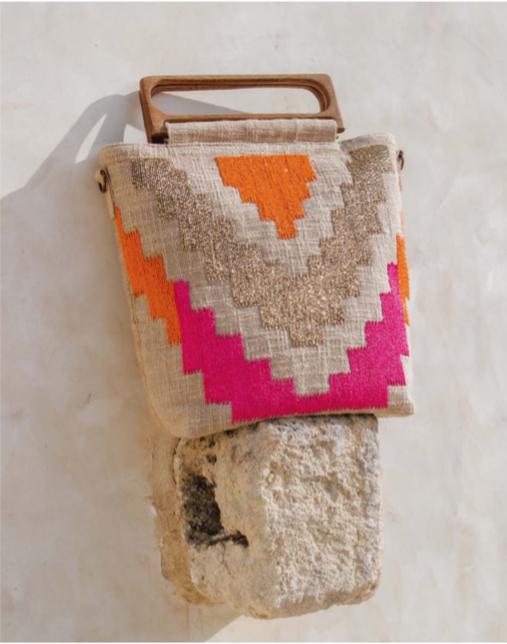 Fuschia Orange Wooden Handle Bag