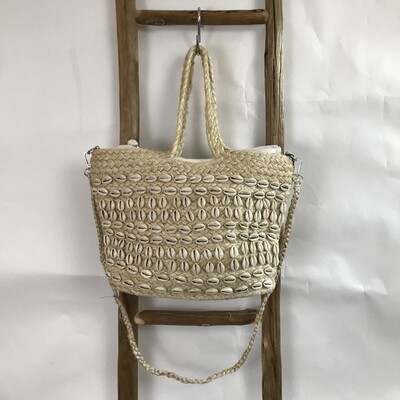 White Puka Shell Zip Top Tote