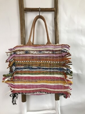 Multi Color Tote with Side Fringe