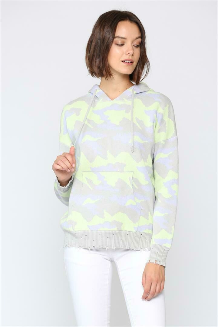 Neon Lime Camo Hoody Sweater