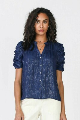 Navy Blue & Silver Button Down Top w Ruffle Sleeve
