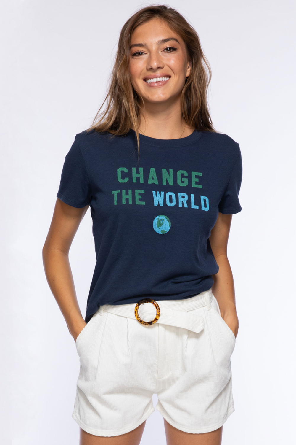 Change the World Loose Tee - Navy