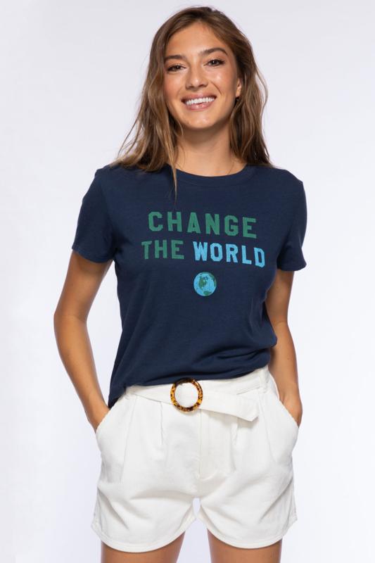 Change the World Loose Tee - Navy