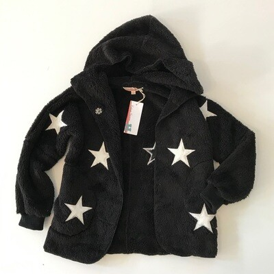 Girls Black Fleece Jacket w White Stars