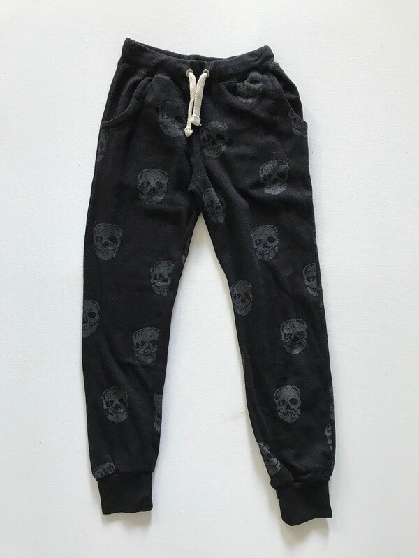 Girls Black Skull Print Jogger Sweatpant