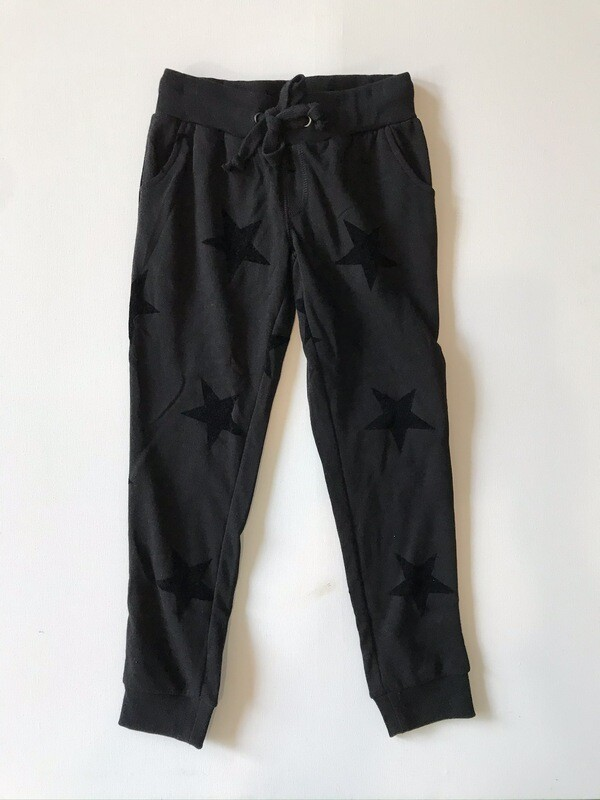 Girls Black on Black Flocked Star Jogger