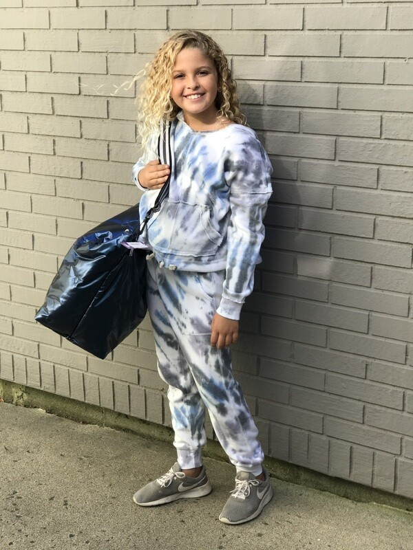 Girls Blue White Tie Dye Jogger Pants