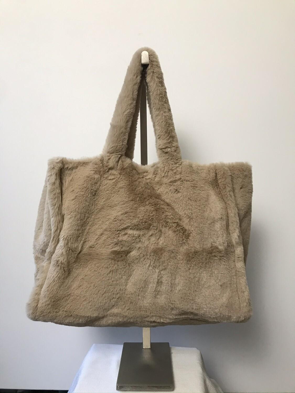 Faux Fur Tote Bag Sand/Beige