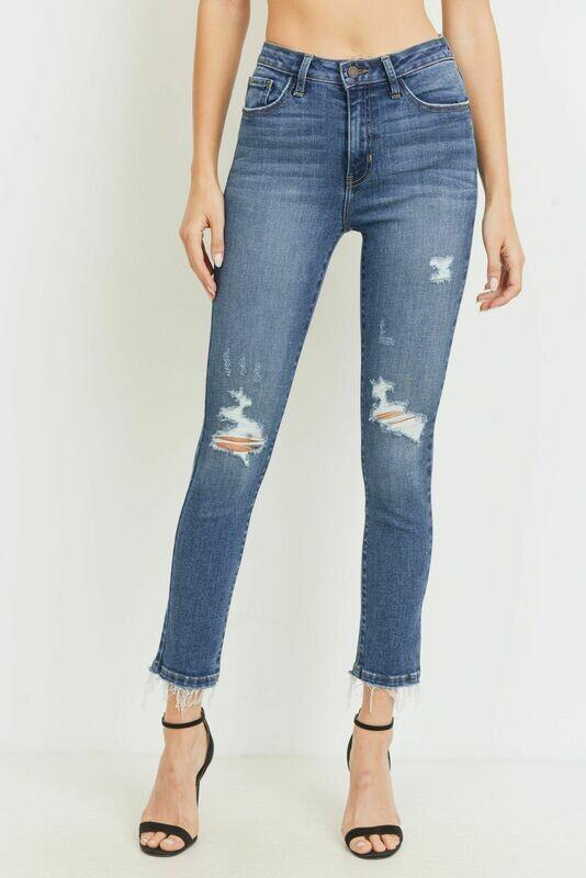 High Rise Skinny Destructed Jean