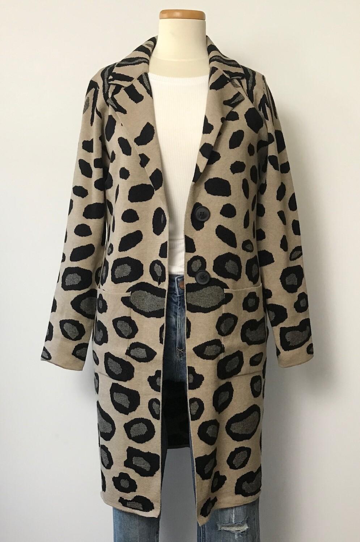 """Dura"" Sweater Coat - Animal Print"