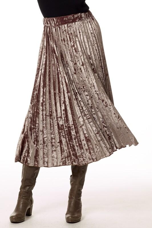 Bronze Velvet Pleated Skirt