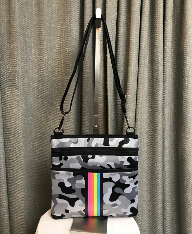 Peyton Crossbody Bag 'Ultimate' (Grey Camo w Rainbow Stripe)