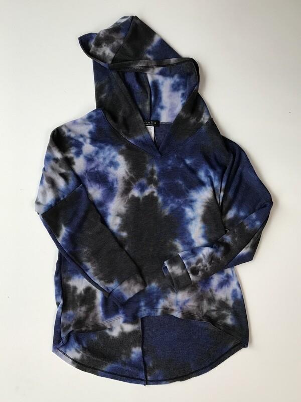 Brushed Fleece Hi Lo Hoody - Blue Tie Dye