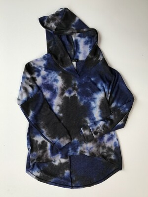 Brushed Fleece Hi Lo Hoody - Blue Tie Dye