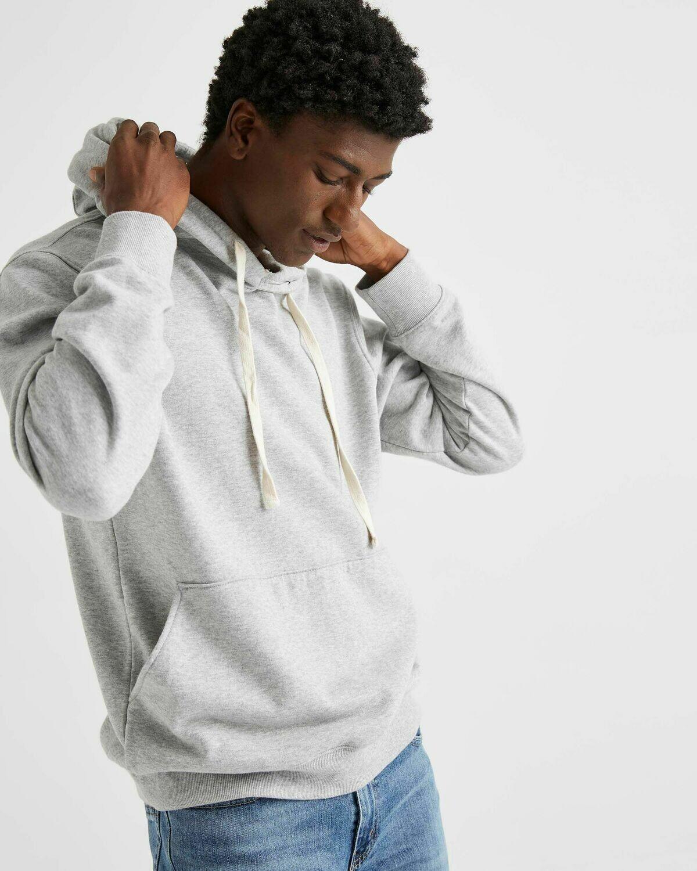 Men's Recycled Fleece Pullover Hoody - HEATHER GREY