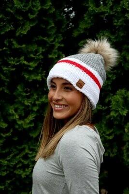 Pom Pom Hat - Red, White, Grey