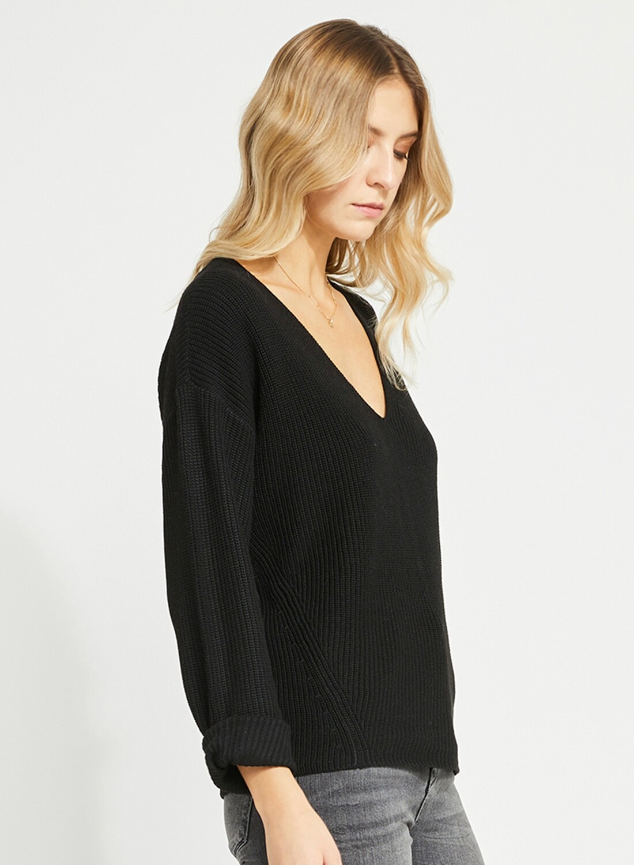 Tucker Vneck Sweater Black