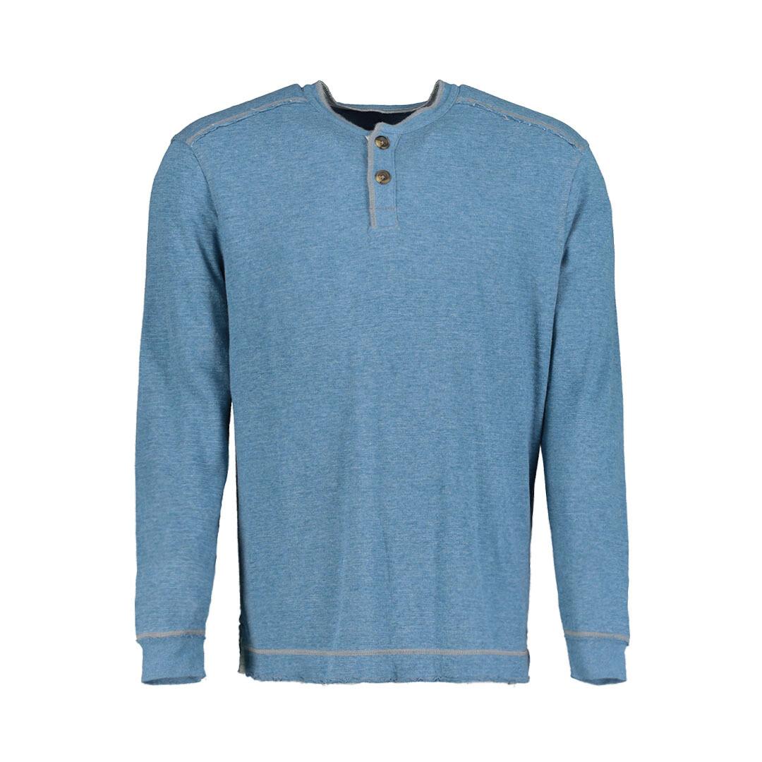 Men's Double Layer Henley Blue