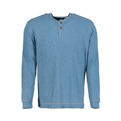 Men's Double Layer Henley Blue