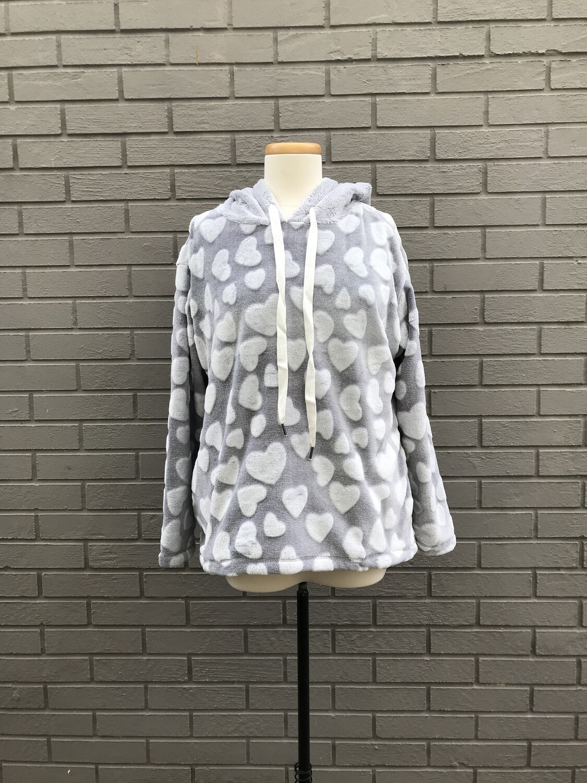 Cozy Lounge Hoody Pullover - Grey Hearts