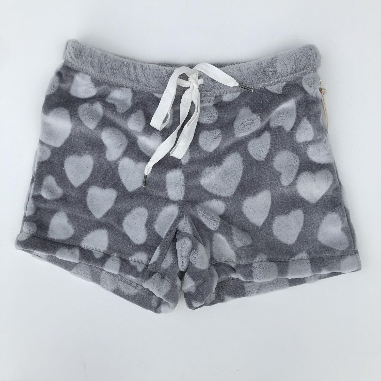 Cozy Lounge Shorts - Grey Hearts