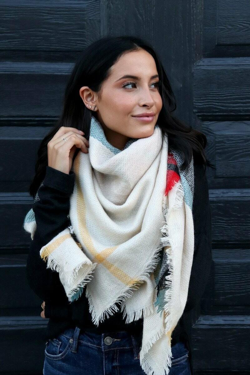 Blanket Scarf - Ivory Blue Plaid