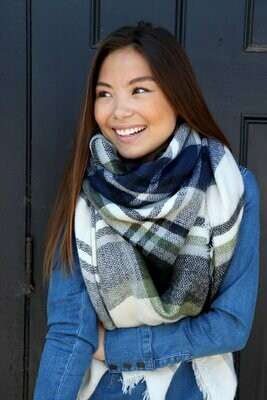 Blanket Scarf - Navy Green Ivory