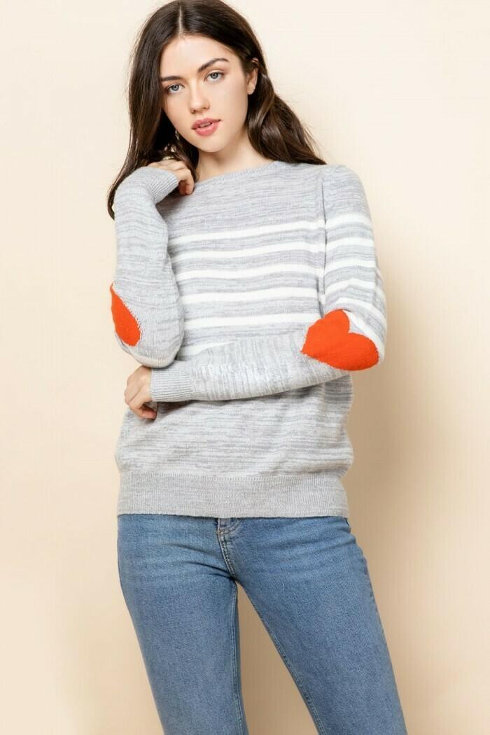 Heart Elbow Stripe Sweater