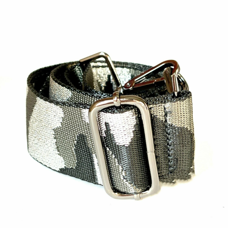 Bag Strap - Metallic Silver Camo (Gunmetal Hardware)