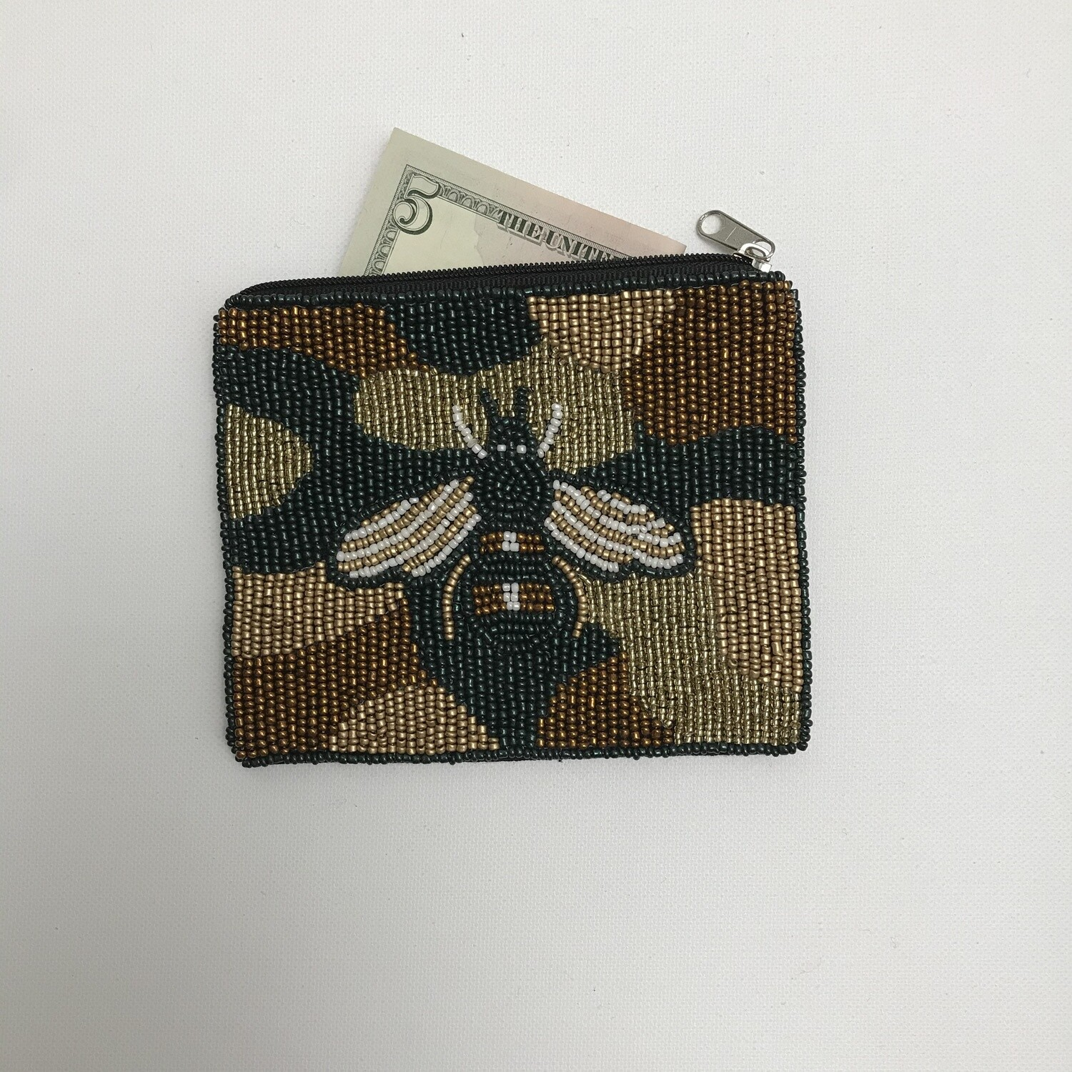 Beaded Coin Purse - Camo/Bee