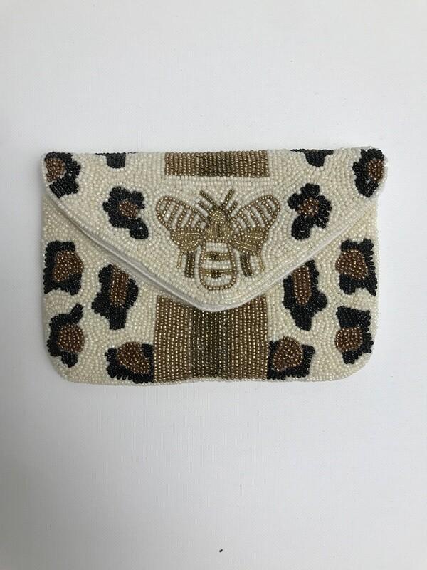 Small Beaded Clutch - IVORY CHEETAH W BEE