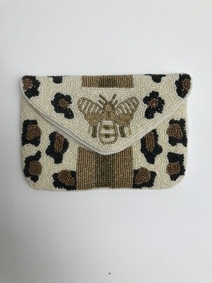 Small Beaded Clutch - IVORY CHEETAH W BEE
