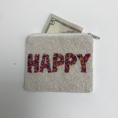 Beaded Coin Purse - HAPPY