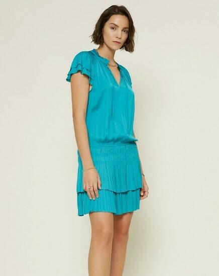 Teal Smock Waist Dress - Short Slv