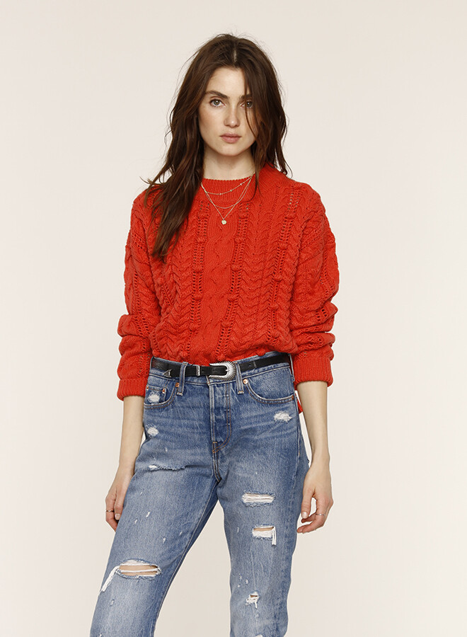 Tangerine Cable Sweater