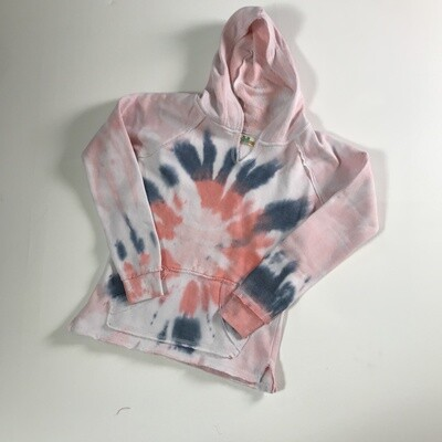 Girls Flamingo Pink Tie Dye Hoody