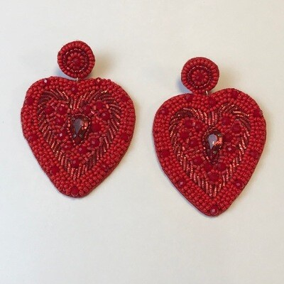 Large Red Beaded Earrings