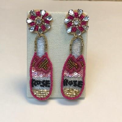 Pink Rose Beaded Earrings